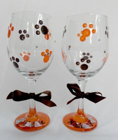 Hand Painted Wine Glasses Dog Print Design in by OrganizedBride, $10.00