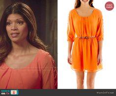 Xiomara's orange lattice-sleeve dress on Jane the Virgin.  Outfit Details: http://wornontv.net/48398/ #JanetheVirgin