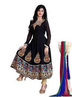 Radiant Black Semi-Stitched Georgette Embroidered  Anarkali  Suit