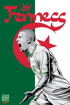 Algeria, Afiches fútbol Copa Mundial Brasil 2014 / World Cup posters by Cristiano Siqueira