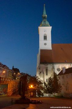 What's better than seeing the beautiful sights of Bratislava? Probably seeing Bratislava by night :) Bratislava, San Francisco Ferry, Cathedral, Tours, Night, Building, Free, Travel, Beautiful