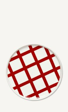 This medium-sized plate is decorated with the graphic white and red Spaljé pattern. The plate is made of dishwasher, oven, microwave and freezer proof white stoneware. Marimekko, Stoneware, Red And White, Plates, Ceramics, Simple, Wood, Tableware, Design