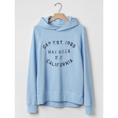 Gap Women Bay Area Logo Hoodie ($45) ❤ liked on Polyvore featuring tops, hoodies, long hooded sweatshirt, graphic hoodie, hooded pullover, hooded tops and blue hoodies