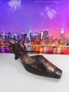 Womens shoes LIZ CLAIBORNE Flex AVERY brown leather ankle strap heels sz 8.5 M #LizClaiborne #Strappy