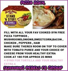Pizza bowl My Slimming World, Slimming World Recipes, Pizza Bowl, Syn Free, Stuffed Mushrooms, Yummy Food, Beef, Dinner, Cooking
