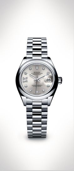 The Rolex Lady-Datejust 28 in 950 platinum with a gem-set silver dial and a President bracelet. This exquisite model demonstrates Rolex's unique expertise in the art of dial making.  #RolexOfficial