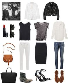Basics and outfits: black, white, grey, blue, blazer, leather jacket, t-shirt, button-up shirt, skirt, skinny jeans, sandals, ankle boots, heels, red lips