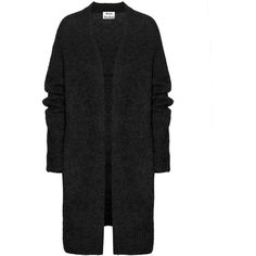 Acne Studios Raya Wool and Mohair-Blend Cardigan (€360) ❤ liked on Polyvore featuring tops, cardigans, sweaters, coats, outerwear, black, wool cardigan, black cardigan, acne studios and black top