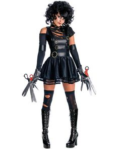 Sexy Adult Miss Edward Scissorhands Costume  Item: R889844  Available Sizes:  Extra Small (Fits most sizes 0-2), Small (Fits most sizes 4-6), Medium (Fits most sizes 8-10)  Includes Dress, Pair- Scissor hands, 1 Glovelette, Chocker, Belt, and Wig  Thigh Highs and Boots Not Included  Promo Price: $43.98  SAVE 20% with code SAVEBIG  Our Low Price: $54.97  Select a SIZE:   X-SMALL - In Stock   SMALL - In Stock   MEDIUM - In Stock