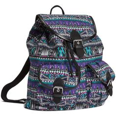 H&M Patterned backpack (£20) ❤ liked on Polyvore featuring bags, backpacks, faux-leather backpack, flap bag, drawstring backpack bags, decorating bags and backpacks bags