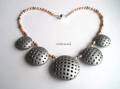 Polymer Clay Hollow bead reversible necklace Silver
