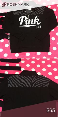 VS PINK Half-zip Pullover New in online packaging. PINK logo. Oversized fit. Black color. Zebra print on top.  No trades. I accept reasonable offers  I have this listed for less on Ⓜ️ercari Use code FWXENR when you sign up for $2 off first purchase  Search vspink_forsale to find my closet  PINK Victoria's Secret Sweaters