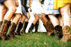 Me and My Bridesmaids...Country Themed Wedding,  Bride and Bridesmaids Cowboy Boot Pose, One leg out looks a lot better then just legs together, Poses with the Bridesmaids