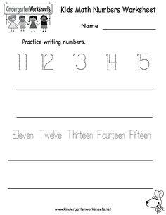 kindergarten kids math numbers worksheet printable - Kids Worksheets Printable