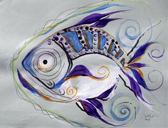 """Thousand and One, Number 1"" (2011) Abstract Mixed Media Abstract FISH Art from…"
