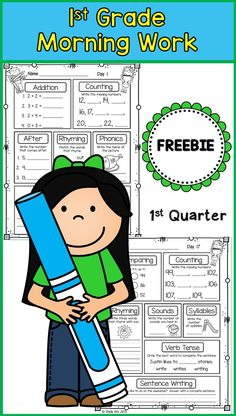Morning work or homework for first grade First Grade Curriculum, First Grade Freebies, 1st Grade Worksheets, Teaching First Grade, Homeschool Kindergarten, First Grade Classroom, 1st Grade Math, Classroom Activities, Grade 1