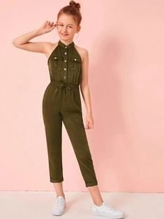 May 2020 - Girls Tie Waist Halter Satin Utility Jumpsuit – Kidenhouse Preteen Girls Fashion, Girls Fashion Clothes, Kids Outfits Girls, Cute Girl Outfits, Cute Outfits For Kids, Teen Fashion Outfits, Cute Casual Outfits, Kids Fashion, Girls Shoes