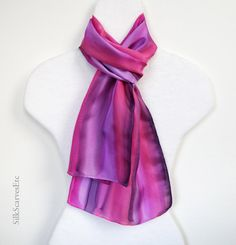 Hand dyed silk scarf Hand painted pink lavender by SilkScarvesEtc