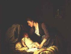 """""""Undressing the Baby"""" von Johann Georg Meyer von Bremen (geboren am 28. Oktober 1813 in Bremen, gestorben am 4. Dezember 1886 in Berlin), bedeutsamer Künstler der klassischen deutschen Genremalerei."""