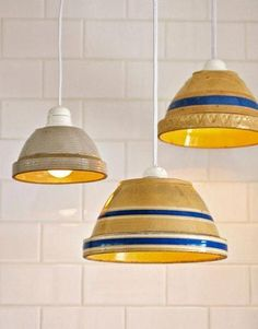 DIY kitchen light fixture - mixing bowls, cute idea but must find something lighter