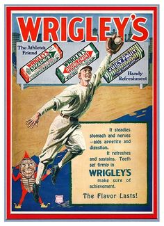 """1920's Vintage Wrigley's Gum Baseball Ad """"The Athlete's Friend - Handy Refreshment - The Flavor Lasts!"""""""