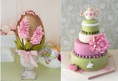 decorated easter egg by Cakes Haute Couture Spain left, easter bunny cake with teapot cake topper via Pinterest uncredited.