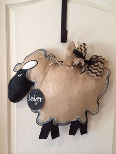 Vintage lamb burlap door hanger with personalized nametag