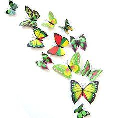 Sungpunet Jolie f/ée Rose et Papillons en Dessin anim/é Sticker Mural Beau Sticker Mural