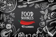 Food doodles 40 elements by BarcelonaShop on @creativemarket
