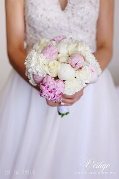wedding bouquet, pink peonies, carnations, roses, white and pink, romantic bouquet