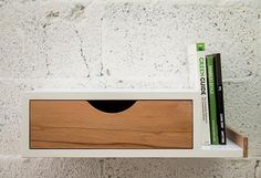 ubico recycled furniture bedside shelf with drawer - also available with phone charger shelf on left