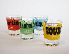 vintage recipe shot glasses by buttervintage on Etsy
