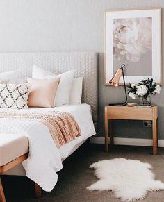 Cozy bedroom decor, bedroom design ideas, modern wall artworks, modern pillow covers, modern interior design covers modern Bedroom Decor Ideas To You Cozy Bedroom, Home Decor Bedroom, Modern Bedroom, Modern Wall, Blush Bedroom, Trendy Bedroom, Contemporary Bedroom, Bedroom With Gray Walls, Budget Bedroom