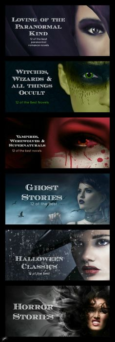 The ultimate guide to Halloween books - 72 of the best books crossing paranormal romance, occult and witchcraft, werewolves and vampires, ghost stories, horror and classics. http://novelexperience.info/72-books-for-halloween-ultimate-guide-halloween-reads/