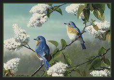 Bluebirds Hautman Brothers Birds Spring Scenic Nylon Area Rug