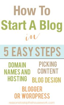How To Start A Blog - Reasons To Skip The Housework