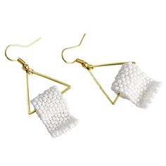 Funny Gift for Her Toilet Paper Earrings Handmade Beaded White and Gold Tone Pair * You can find out more details at the link of the image.Note:It is affiliate link to Amazon.