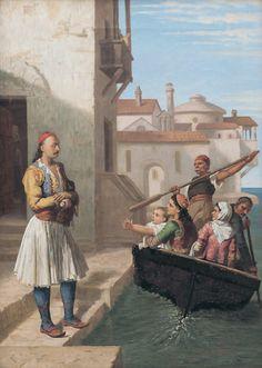 Αγνώστου ζωγράφου.  Ο Μάρκος Μπότσαρης αποχαιρετά την οικογένειά του Λάδι σε μουσαμά, 68 x 48 εκ.  Ενδιαφέρουσα σύνθεση που απεικονίζει τον ήρωα να αποχαιρετά την οικογένειά του πριν φύγει για το Καρπενήσι όπου τον βρήκε ο θάνατος. Πιθανώς βασίζεται σε χαμένο έργο του Ludovico Lipparini.