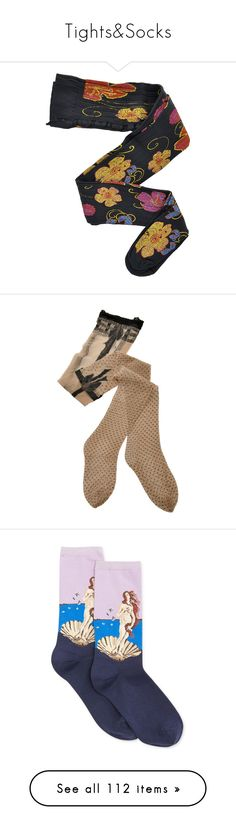 """Tights&Socks"" by taught-to-fly19 on Polyvore featuring intimates, hosiery, tights, socks, accessories, women, floral tights, patterned pantyhose, patterned hosiery e hyd"