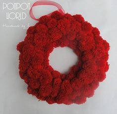 "Pompom Christmas wreath, Pom pom, Red, Simple, Elegant, Red ribbon, Decoration, Wall, Door, 34 cm, 13"", Fluffy, Home Decoration, Holiday"