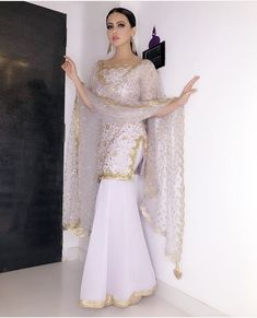 The Stylish And Elegant Gharara In Pastel Violet Colour Looks Stunning And Gorgeous With Trendy And Fashionable Georgette Fabric Looks Extremely Attractive And Can Add Charm To Any Occasion. Indian Wedding Outfits, Bridal Outfits, Indian Outfits, Pakistani Dress Design, Pakistani Outfits, Dress Indian Style, Indian Dresses, Indian Designer Outfits, Designer Dresses