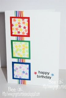 cheery and bright birthday card - like the little stars and rainbow ribbon/paper