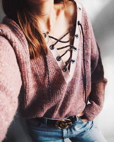 Sweater: tumblr pink lace up lace up jumper belt logo belt gucci gucci belt denim jeans blue jeans