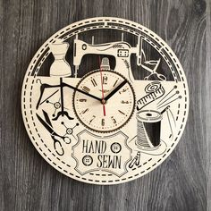 Sewing Wall Wood Clock  30 cm / 12 in☑️  Really  gift and unique home decoration  Can be personalized for   Free Shipping WORLDWIDE.  Tracking ID is provided✔️  ✅$39.99  For more photos and details contact us or visit our website  https://7arts.studio/  #kitchendecor #wallclock #creativethings #woodclock #7artsstudio #customclock #personalizedgift #unique #engraving #freeshipping #clocks #homedecor #lasercut #weddinggift #housewarminggift #ecofriendly #rusticclock #steampunk #woodworking