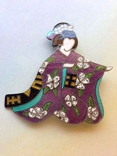 Margot de Taxco Enameled Sterling Silver Geisha Pin/Pendant