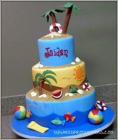 Beach Theme all fondant; beach balls are jaw breakers covered in fondant. Beach Themed Cakes, Beach Cakes, Cute Cakes, Pretty Cakes, Fancy Cakes, Bolos Pool Party, Island Cake, Pool Cake, Ocean Cakes