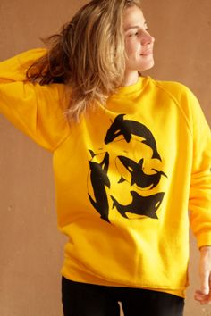 yellow vintage ORCA WHALE bright sweatshirt by ZiaVintage on Etsy