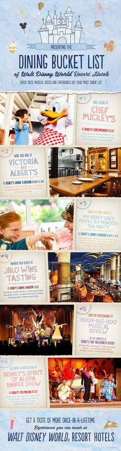 Walt Disney World Dining Bucket List! Dine with Mickey, Donald and the gang! Have a Princess Tea Party! Enjoy an African Wine Tasting!