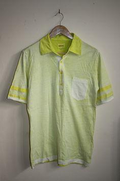 Diesel Fashion Designer Casual Men's Polo Shirt Neon Yellow Top Cotton Size M…