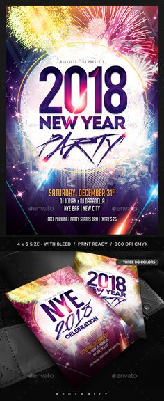 New Year Psd templates, Template and Party poster - new year brochure template